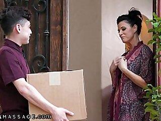 She Rewards Him Close to A Body Massage